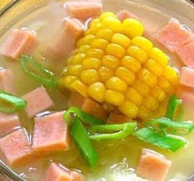 水果玉米美食——火腿玉米羹